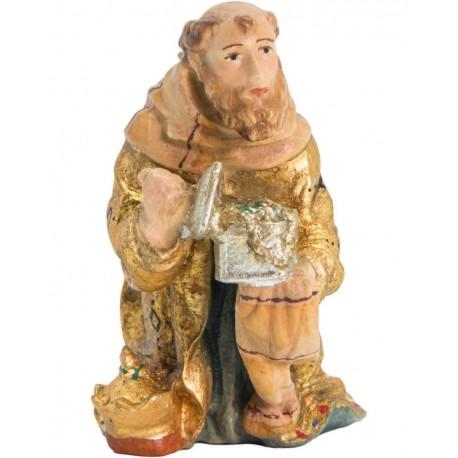 Kneeling Wise Man Balthasar in wood - color