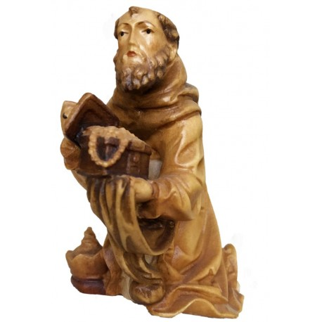 Kneeling Wise Man carved in maple wood  - Dolfi Italian Nativity Set - Made in Italy - oil colors