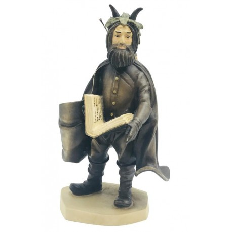 Statue of Black Peter Character from the History of Santa Claus carved in wood Collectible Figure