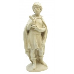 Re Magio Moro scolpito in legno nobile - Dolfi figura intagliata in legno, Santa Cristina Gardena - naturale