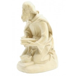 Kneeling Wise Man - Dolfi Wooden Nativity Scene - Made in Italy - natural