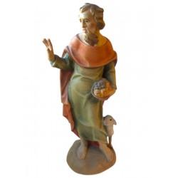 Pastore che cura le sue pecore - Dolfi scultura in legno, Val Gardena - colorato a olio