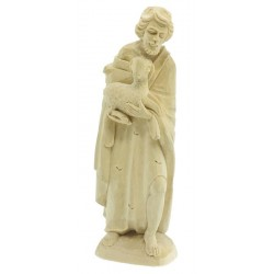 Shepherd with Sheep in Lindenwood Hand carved - Dolfi Wooden Christmas Crib - Made in Italy - natural