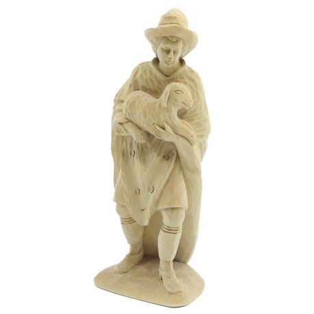 Shepherd with Sheep in Lindenwood hand carved - natural