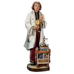 Il Farmacista scolpito in legno d'acero montano - colorato colori pastello
