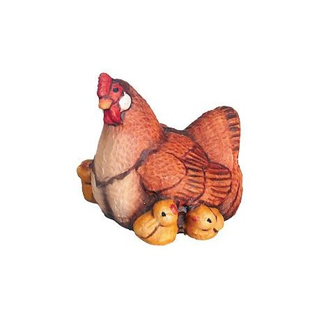 Hen with Chicks in wood - color