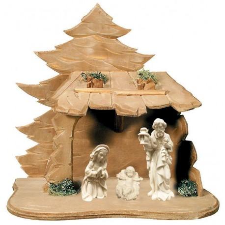Sacra Famiglia con capanna in legno - naturale