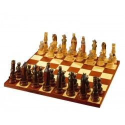 the Game of Chess Warriors carved in wood without Chessboard - Luxury Man Gift Idea - Dolfi - oil colors