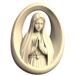 Relief Madonna of Fatima in wood - natural