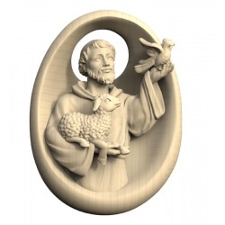 Relief of Saint Francis wood - natural