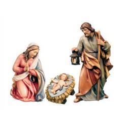 Natività con Sacra Famiglia di legno - colorato a olio