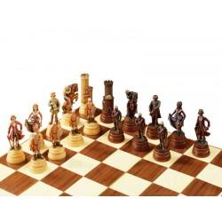 Krieger Schachspiel aus Ahornholz geschnitzt und Handbemalt