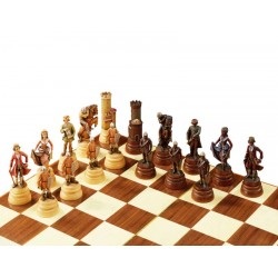 Warriors chess set carved in maple wood and hand painted with oil colors