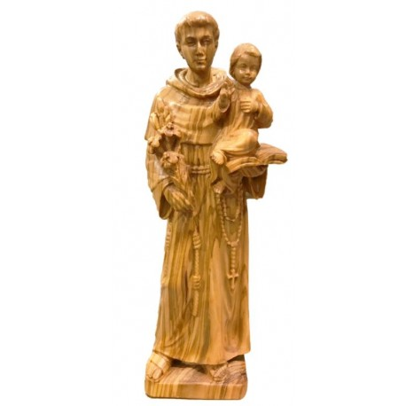 St. Anthony wood carved Statue - olive