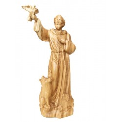 Saint Francis from Assisi with Flying Dove wood statue - olive