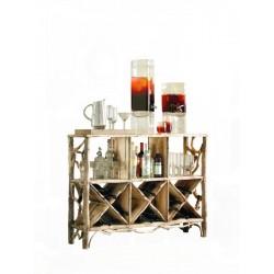 Mobile bar in radici di bosco per bottiglie e bicchieri