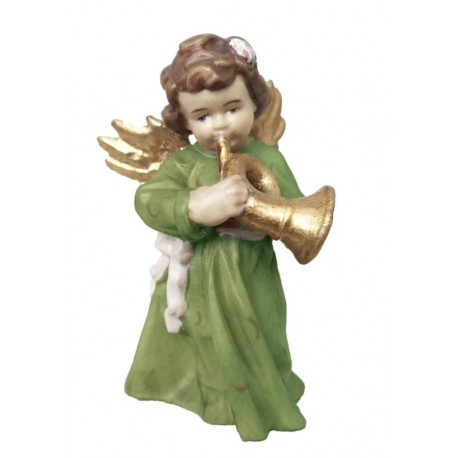 Angel with Trumpet carved in wood - color