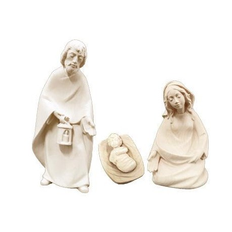 Holy Family wood carved without Stable - natural