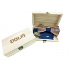 Set Papillon aus Holz in blau | Dolfi Fliege aus Holz, diese Kreation ist in Gröden hergestellt