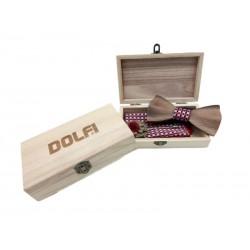 Set Papillon aus Holz in Rosa, Rot und Blau, Dolfi Holzfliege Set, Original Grödner Schnitzereien