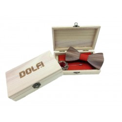 Set Papillon in wood in Red Bow Tie