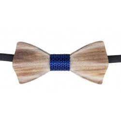 Wood Papillon blue and black