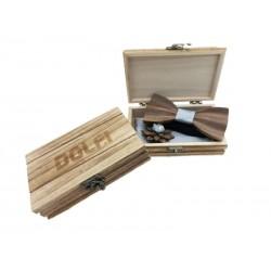 Set Papillon aus Holz in Hellblau | Dolfi Holzfliege mit Gravur, Original Grödner Holzschnitzereien