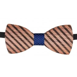 Blue wood carved Bow Tie