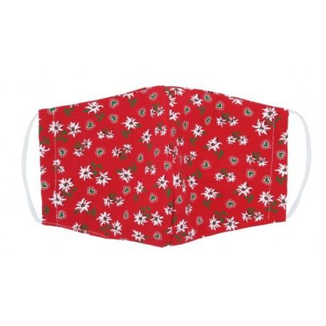 Mascherina tirolese color rosso in puro cotone imbottita di trucioli di cirmolo