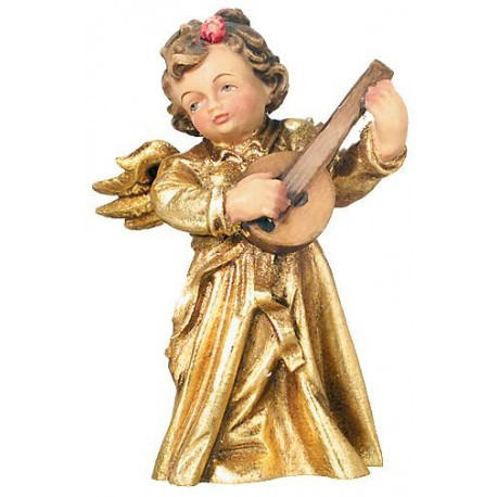 Angel with Lyre Produced and wood carved from Italian Master Carvers carved Wooden Angel Statue - Wood golden with gold leaf