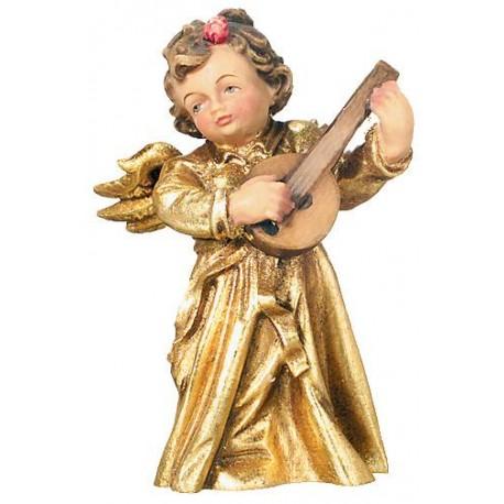 Angelo musicista in legno con mandolino - legno dorato con oro in foglia