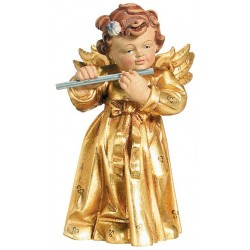 Engel geschnitzt mit Querflöte aus Holz, Dolfi Holzengel geschnitzt, Original Grödner Schnitzereien - Holz Blattgold vergoldet