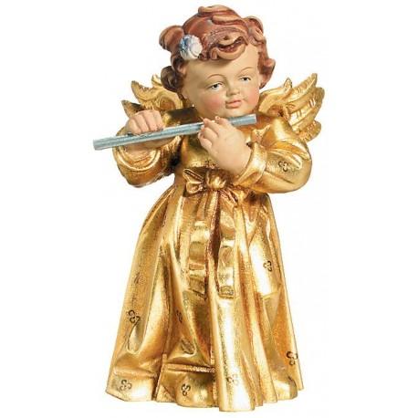 Angelo con flauto in legno con flauto - legno dorato con oro in foglia