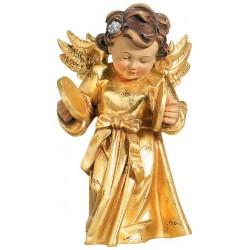 Delicato angelo barocco musicista con piatti scolpito in legno acero - legno dorato con oro in foglia