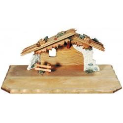 """Stable """"Matteo"""" for wood carved Nativity Scene - Dolfi Wooden Barn for Nativity Set - Made in Italy"""