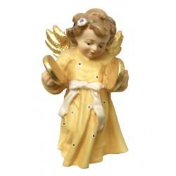 Delicato angelo barocco musicista con piatti scolpito in legno acero - colorato colori pastello