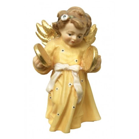 Angel with Plates in Baroque Dress hand made in wood - Dolfi Wooden Angel Statue - Made in Italy - oil colors