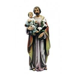 Heiliger Josef mit Kind und Lilie Blume aus Holzmaße, Polyresin, Dolfi Holzskulpturen aus Kunstharz