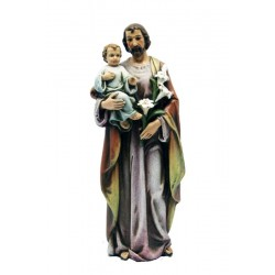 Saint Joseph with child and Lily casted in paste of wood and polyresin in val Gardena