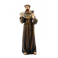Saint Francis from Assisi Molded in Poly Resin wood Paste Christian Garden Statues - Made in Italy