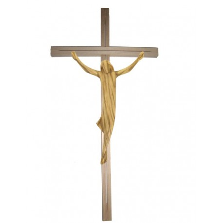 Body of Christ with straight Cross - olive
