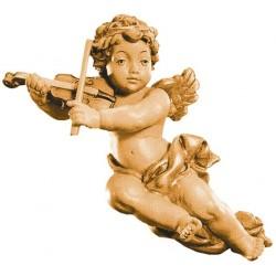 Fliegender Putten Engel mit Violine aus Holz, Dolfi Putten Engel, Original Grödner Holzschnitzereien - Brauntöne lasiert