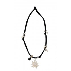 Stretch necklace black with edelweiss carved in maple wood with Swarovski Crystals