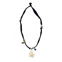 Dark Blue Elastic Necklace with Edelweiss carved wood with Swarovski Crystal Unique Wooden Jewelry