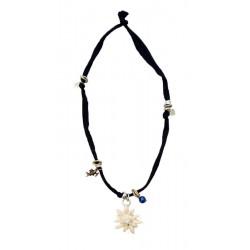 Halskette dunkel blau mit Edelweiß aus Ahornholz und Swarovski Steine, Dolfi Kette mit Gravur