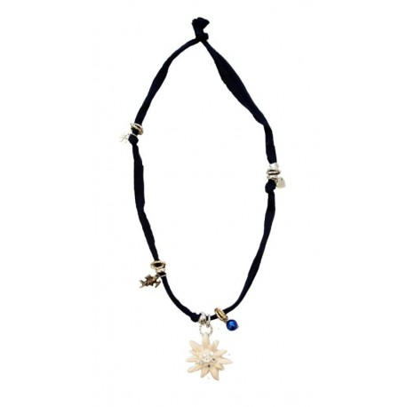 Halskette dunkel blau mit Edelweiß