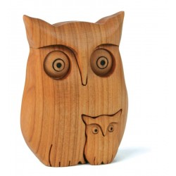 Owl with Little Owl carved in Apple wood - Origin and Manufacture of Val Gardena Fathers Day Ideas