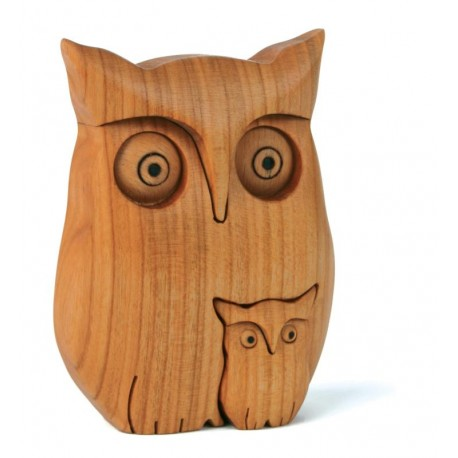 Owl with Little Owl in wood