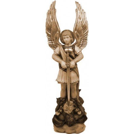 Saint Michael Archangel wood Statue - stained 3 col.