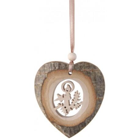 Cuore in corteccia naturale con immagine intagliata nel legno